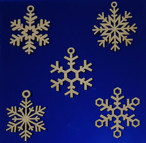 Wooden Christmas Snowflakes Tree Decorations Craft Hanging Bauble   ** 5 Pack **