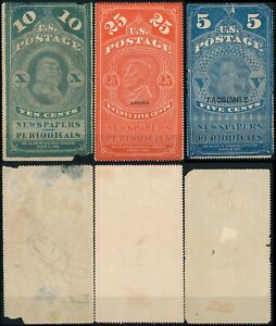 U.S.A., 1865 TYPES, 3 DIFFERENT UNKNOWN NEWSPAPERS FORGERIES REVENUES.     #M50