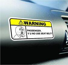 NO USE SEAT BELT? Funny Dash Sticker Set Vinyl Decal JDM Car Truck Meme Warning