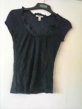 MNG striped 2 tone navy top. S short sleeve