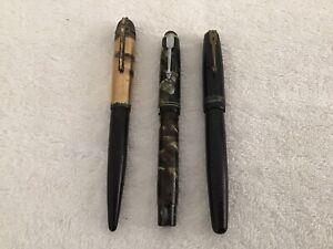 Lot of 3 Vintage Fountain Pens - Parker Arrow Vacumatic & Eversharp