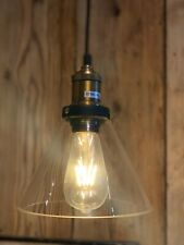Vintage Industrial Glass Funnel Pendant Light With Free Edison Bulb