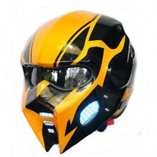 PRO WOLF BUMBLE-BEE  HELMET MOTORCYCLE 3LAMPs CUSTOM BLACK YELLOW SIZE M, L
