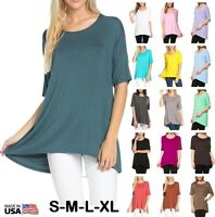 Women Basic Tunic Top Scoop Neck Short Sleeve Casual Hi Lo T-Shirt S M L XL USA