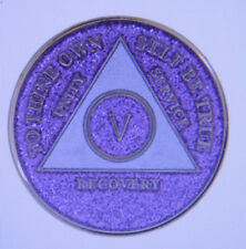 ALCOHOLICS ANONYMOUS - ANNIVERSARY -MEDALLION - GLITTER - 1-50 YEARS - LAVENDER