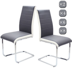 Set of 2 4 6 8 Faux Leather Dining Chairs Cantilever Chrome Legs Grey White Side