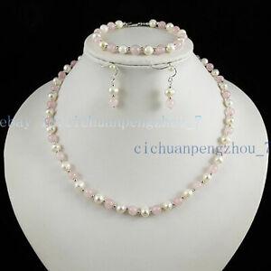 Beautiful 6mm Pink Rose Quartz & 6-7mm White Pearl Necklace Bracelet Earring Set