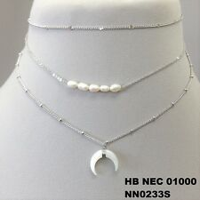Dainty Triple Layered Choker Necklace Unique Pearl Beads Charms Silver Finish