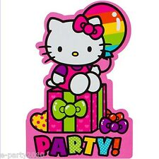HELLO KITTY Rainbow INVITATIONS (8) ~ Birthday Party Supplies Stationery Cards