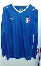 2008 puma italy soccer jersey long sleeve blue mens large