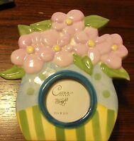 "Floral Pansy Flower Vase Pink Purple Ceramic Photo Picture Frame 2-1/2"" #DP*"