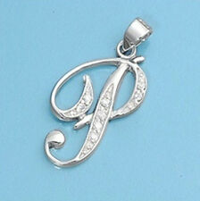 Alphabet Initial Pendant Sterling Silver 925 Cubic Zirconia Jewelry Letter P