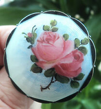 LARGE Norwegian Silver Rose Enamel Brooch - O.F. Hjortdahl Oslo Norway