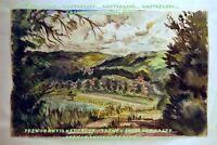 AQUARELLE PAYSAGE DE CAMPAGNE signée Renée GILLOT (Clermont-Ferrand Puy-de-Dôme)