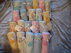 Cute Embroidered Fleece Baby Blanket Fish Lion Giraffe Elephant Infant NEW!
