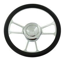 "14"" Chrome Split Tri Spoke Steering Wheel Half Wrap Leather & horn Button"