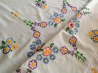 """VINTAGE HAND EMBROIDERED WHITE LINEN / RAYON MIX TABLE CLOTH 30""""X34"""""""