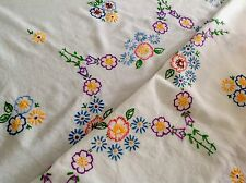 "VINTAGE HAND EMBROIDERED WHITE LINEN / RAYON MIX TABLE CLOTH 30""X34"""