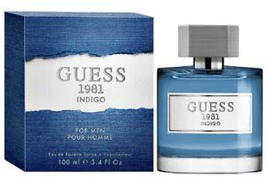 GUESS 1981 INDIGO * Guess 3.4 oz / 100 ml Eau de Toilette Men Cologne Spray