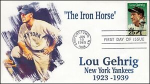 AO-2417-2, 1989, Lou Gehrig, FDC, Add-on Cachet, Cooperstown NY, SC 2417