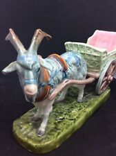 Antique Czech Pottery / China Goat And Cart Vase / Bowl