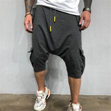 Mens 3/4 TrouserJogger Casual Loose Shorts Sport Hip Hop Cotton Harem Pant