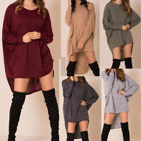 Womens Plus Plain Oversized Knit Long Sleeve Batwing Dip Hem Baggy Ladies Top