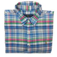 Ralph Lauren Men's XL Pink Blue Green Plaid Short Sleeve Button Front Shirt