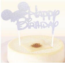 """Tortentopper """"Happy Birthday"""" Disney Schrift Silber Glänzend Kuchenaufsatz"""