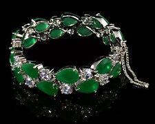 14k White Gold GF Bracelet made w Swarovski Crystal Emerald Green & Bling Stones