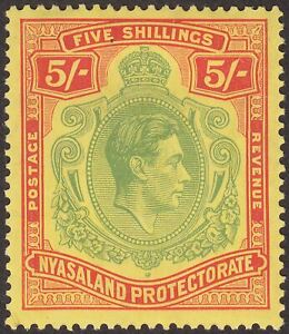 Nyasaland 1938 KGVI 5sh Pale Green and Red Chalky Paper Mint SG141 cat £55