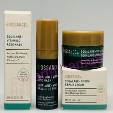 BNIB ~ Biossance Squalane Vitamin C Rose Mask And Omega Repair Cream ~ Mini Size