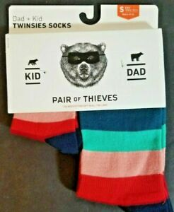 Pair of Thieves Dad and Kid Twinsies Striped Socks Size Small- Kids 18mo-3yrs