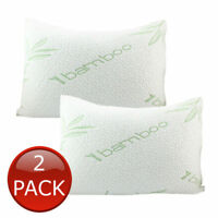 2 x LUXURY BAMBOO PILLOW QUEEN MEMORY FOAM FIBRE SHREDDED RELIEF 60 x 40cm