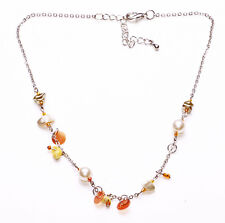 SHORT SILVER METAL NECKLACE WITH PEACH SEQUINS & PEARLY BEADS, ADJUSTS 6CM(ZX47)