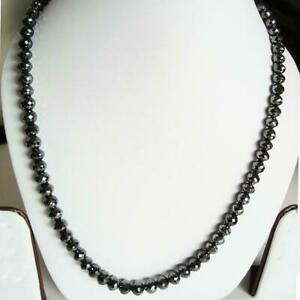 Genuine 5 mm 28 Inches BLACK DIAMOND NECKLACE With Certificate
