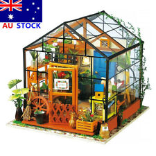 AU DIY House Model Kit Greenhouse Miniature LED Light Dolls House Build Toy