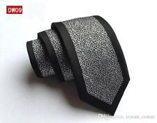 Silver and Black Patterned Handmade 100% Silk Skinny Wedding Tie