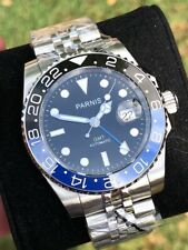 Parnis 40mm Black Dial Sapphire GMT Blue Black Bezel Batman Jubilee Band Watch