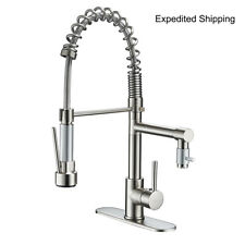 ULGKSD Brushed Nickel Kitchen Sink Faucet Pull Down Sprayer Mixer Tap +10''Cover
