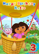 Dora The Explorer and Boots Personalised Birthday Card - Add your own name & age