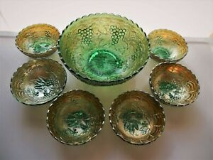 Imperial Glass Iridescent Green Carnival Grape 7 piece Salad Berry Bowl Set