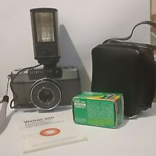 Olympus-Pen EES-2 35mm Half Frame Camera W/Vivitar 252 Flash  box, manual & roll