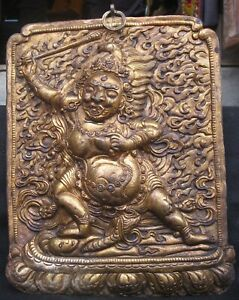 Antique Handmade Copper Repousse Gold Plated Tibet Khadgapani Acala Wall Hanging