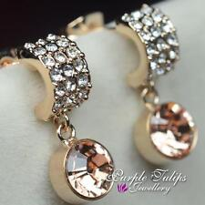 18K Rose Gold Plated Round Dangle Stud EarringsMade With Swarovski Crystal