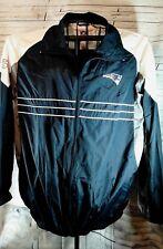 NFL Patriots Windbreaker Jacket Coat Sports Illus Large Full Zip Gray White Blue