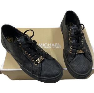 MICHAEL KORS BOERUM LASERED BLACK SNEAKER GOLD HARDWARE - SIZE 8