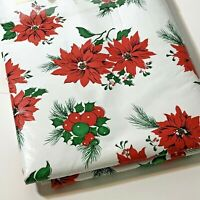 """Poinsettia and Holly berry Plastic flannel Backed Holiday Tablecloth 52"""" X 70"""""""