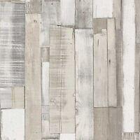 WHITE WOOD BOARD PANEL WALLPAPER - RASCH 203714 - NEW
