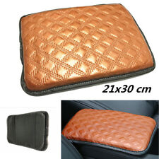 1x Leather Brown Car Center Armrest Console Box Soft Pad Cover Cushion Wear Mat